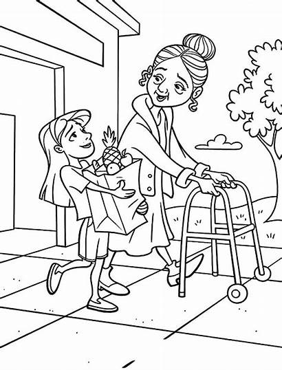 Coloring Helping Pages Kindness Others Drawing Printable