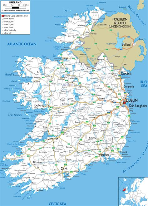 detailed clear large road map  ireland ezilon maps