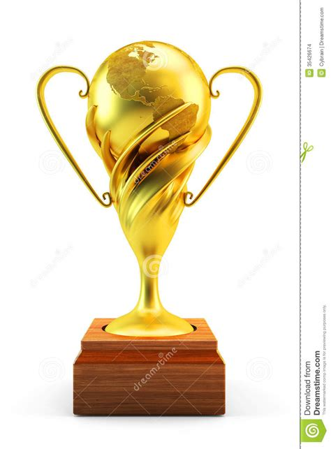 world gold trophy cup stock images image