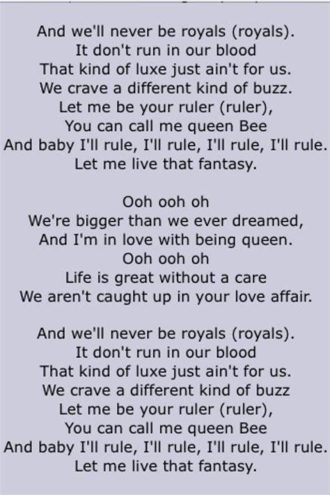 lorde royals page  song lyrics  pinterest