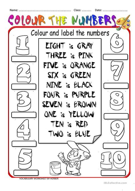 colour  numbers worksheet  esl printable