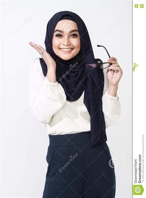 asian muslimah woman expression stock photo image