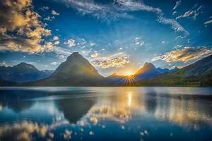 mountain lake nature landscape sky clouds sunlight sun HD ...