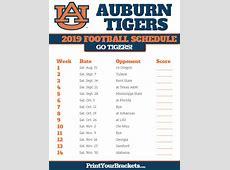 Auburn Tigers 2018 Football Schedule Printable