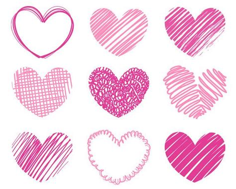 9 Pink Hearts Clipart Hand Drawn Scribble Sketched By