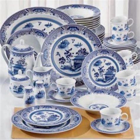 New 38p White Blue Chinese Garden Asian Dinnerware, White