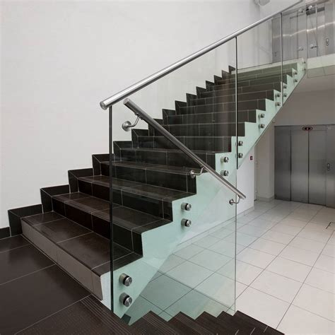 garde corps escalier verre slab nose railing 171 sadev architectural glass systems fixations pour le verre