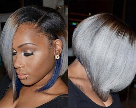 Straight Grey Bob + Blue Highlights