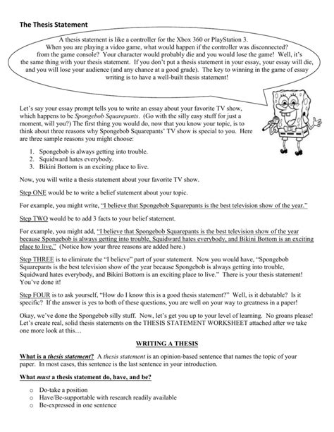 Thesis Statement Worksheet  The Large And Most Comprehensive Worksheets