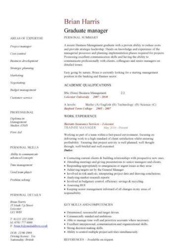 Graduate Cv by Graduate Cv Template Student Graduate Career