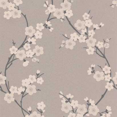 cherry blossom wallpaper  taupe  charcoal
