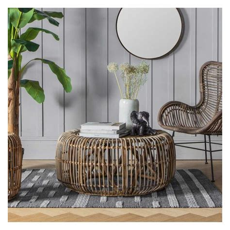 Marbella aluminum rectangular coffee table Modern Round Rattan Garden Outdoor Low Coffee Cocktail Table Cage Style 85 x 38cm