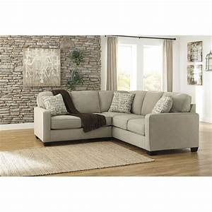 Ashley furniture alenya 2 piece fabric sectional in quartz for Small sectional sofa ashley furniture