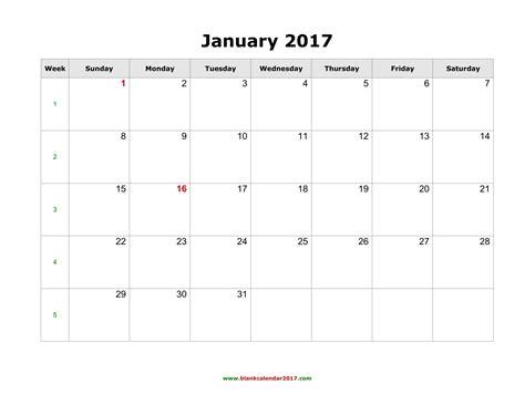 Free Calendar Template 2017 Blank Monthly Calendar 2017 Weekly Calendar Template