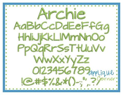 archie embroidery font  bx pes dst  jef digital design  embroider