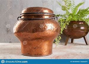 Antique, Copper, Milk, Can, Stock, Image, Image, Of, Vintage