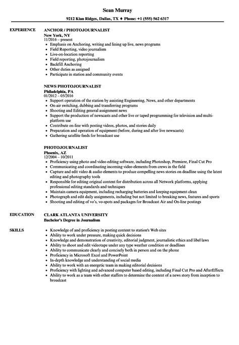 Reporter Description For Resume by Photojournalist Resume Sles Velvet