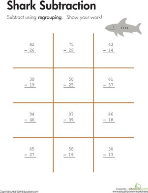 3rd grade math worksheet subtraction with borrowing shark two digit subtraction with regrouping worksheet