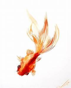 watercolor asian paintings | Goldfish original Asian Style ...