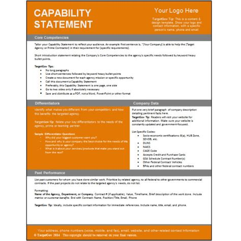 Capabilities Statement Template by Capability Statement Editable Template Targetgov