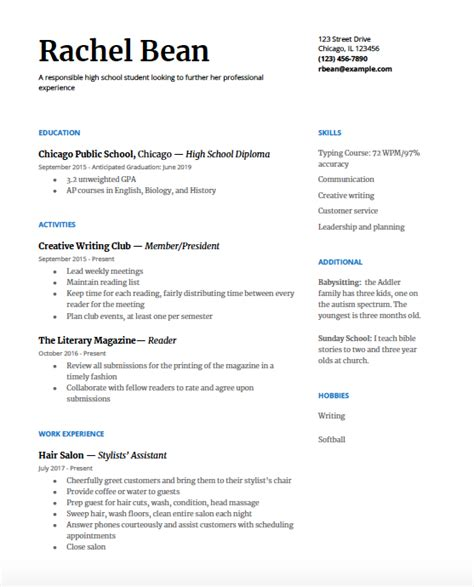 What Should A High School Resume Look Like by High School Resume A Step By Step Guide College Greenlight