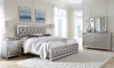 riley bedroom pc set  silver finish  global