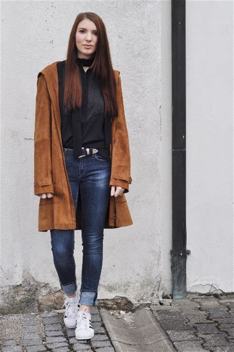 picture  suede brown coat outfit