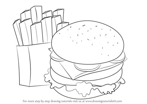 Learn How To Draw Hamburger And Fries (snacks) Step By
