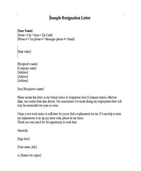 heartfelt resignation letter template   word