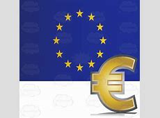 European Union Flag With Golden Euro Currency Symbol