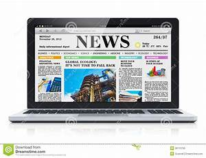 Laptop With Business News Site On Screen Stock Photo ...