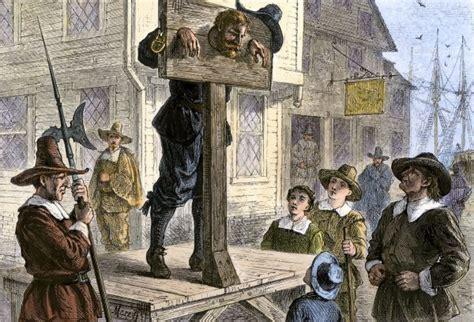 puritan prisoner in the pillory in new england puritan