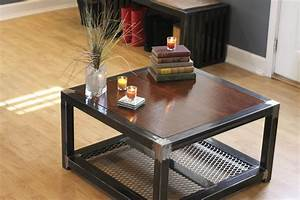 custom made steel and wood coffee table industrial With custom metal coffee tables