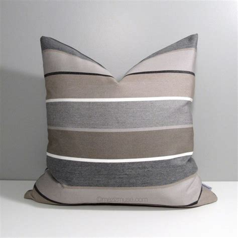 grey and brown pillows brown grey outdoor pillow cover decorative striped