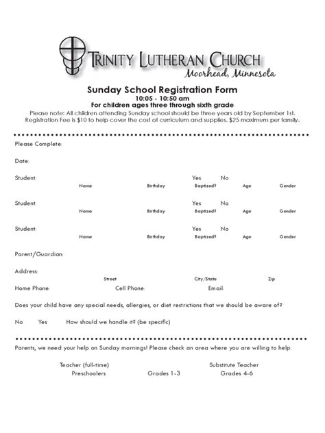 sunday school registration form   templates