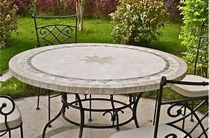 Table Ronde Exterieure : 49 63 round outdoor patio table stone marble mosaic mexico ~ Teatrodelosmanantiales.com Idées de Décoration