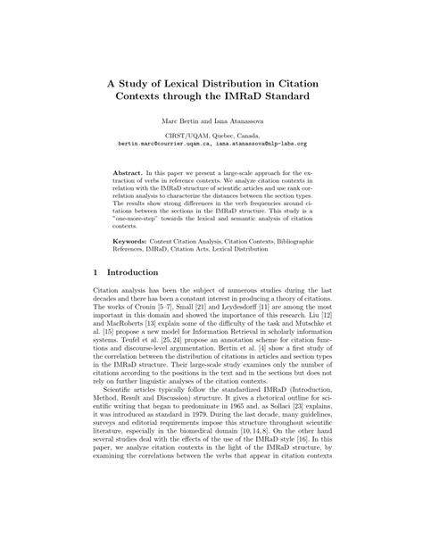 study  lexical distribution  citation contexts   imrad standard