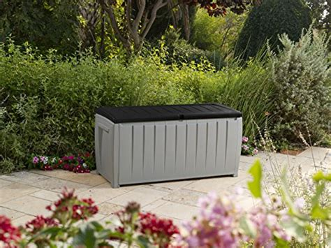 keter jumbo deck box grey keter novel plastic deck storage container box outdoor