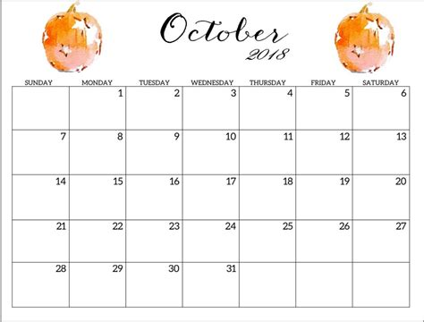 printable october calendar template documents
