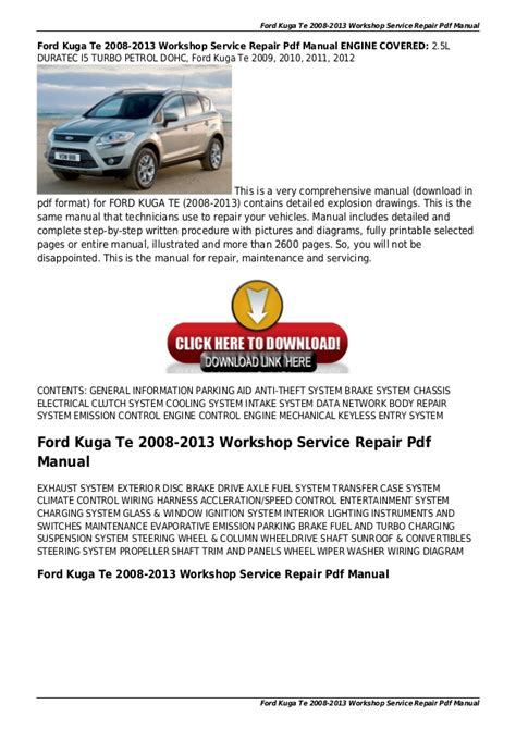 small engine repair manuals free download 1995 ford econoline e250 navigation system ford kuga te 2008 2013 workshop service repair pdf manual