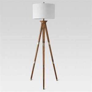 Oak wood tripod floor lamp threshold target for Oak floor lamp stand