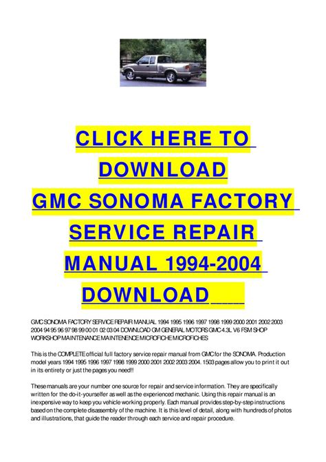 how to download repair manuals 1994 gmc vandura 1500 head up display gmc sonoma factory service repair manual 1994 2004 download by cycle soft issuu