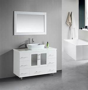 Stanton 48 inch white bathroom vanity porcelain vessel sink for White vanity cabinets for bathrooms
