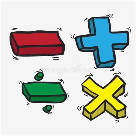 Retro cartoon math symbols stock illustration