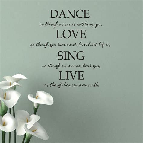 Living room bedroom study room kids room etc. Dance Love Sing Live Quote Wall Sticker - World of Wall Stickers