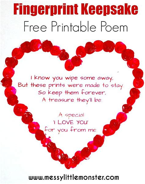Fingerprint Heart Poem - Messy Little Monster