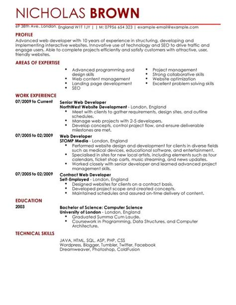 web developer one year experience resume web developer cv exle for it livecareer