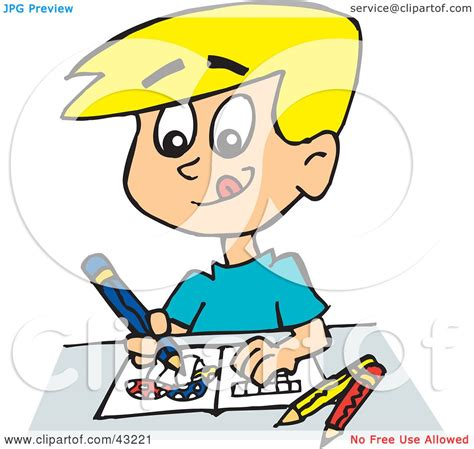 boy coloring clipart clipart illustration of a boy coloring mushrooms by