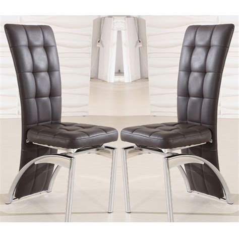 buy 2 ravenna brown faux leather dining room chairs for 163 150