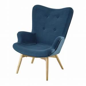 Fauteuil Scandinave Tissu : fauteuil scandinave en tissu bleu p trole iceberg maisons du monde ~ Teatrodelosmanantiales.com Idées de Décoration